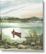 Canoeing On The Lake Metal Print