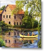Canoeing Past The Mill Metal Print