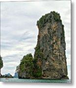 Canoeing The Thailand Scarps Metal Print