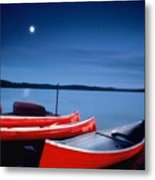 Canoes And Moon 87 Metal Print