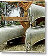Canoes At Canaveral National Seashore Metal Print