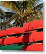 Canoe's At Flamingo Metal Print