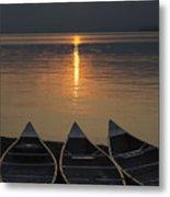 Canoes At Sunrise Metal Print
