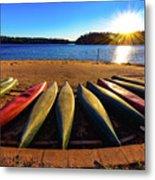 Canoes At Sunset Metal Print