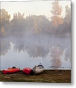 Canoes By A Foggy Lake In Autumn Metal Print