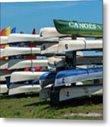 Canoes Cascaded Metal Print