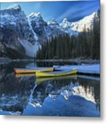 Canoes Under The Peaks Metal Print