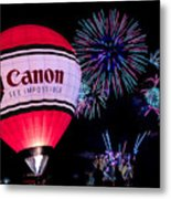 Canon - See Impossible - Hot Air Balloon With Fireworks Metal Print