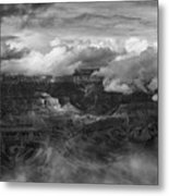 Canyon In Clouds Bw Metal Print