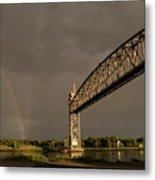 Cape Cod Train Bridge With Rainbow Metal Print