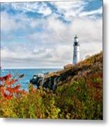 Cape Elizabeth Maine - Portland Head Lighthouse Metal Print