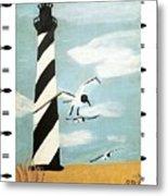 Cape Hatteras Lighthouse - Fish Border Metal Print