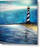 Cape Hatteras Lighthouse Night Glow Metal Print