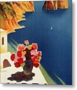 Capri Island, Bay Of Naples, Italy - Retro Travel Poster - Vintage Poster Metal Print