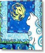 Capricorn Cat Zodiac Metal Print