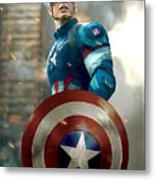 Captain America With Helmet Metal Print