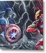 Captain American Vs Ironman Metal Print