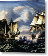 Capture Of H.b.m. Frigate Macedonian By U.s. Frigate United States, October 25, 1812  Metal Print