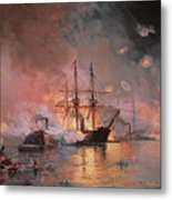 Capture Of New Orleans By Union Flag Officer David G Farragut Metal Print