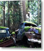 Car Lot In The Forest Metal Print
