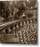 Car On A Wooden Railroad Trestle Circa 1916 Metal Print