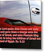Car Reflection With Text 4 Metal Print