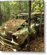 Car Wreck In The Forest Metal Print