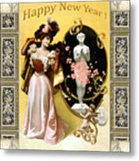 Card New Year Wishes Metal Print
