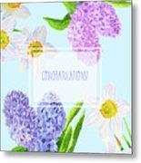 Card With Spring Flowers Metal Print
