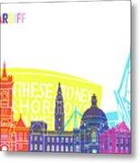Cardiff Skyline Pop Metal Print