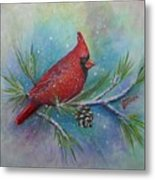 Cardinal And Delta Snow Metal Print