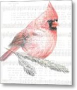 Cardinal On Joy To The World Metal Print