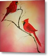 Cardinals At Sunset Metal Print