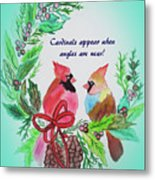 Cardinals Painted By Laurel Adams Metal Print