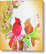 Cardinals Painted By Linda Sue Metal Print