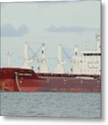 Cargo Ship Four Emerald Metal Print