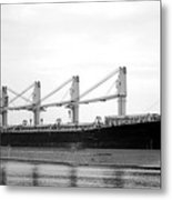Cargo Ship On River Metal Print