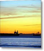 Cargo Ships At Sunset Metal Print