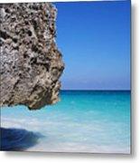 Caribbean Beach Rock Tulum Mexico Metal Print