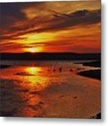 Carmel Colored Sunset In Kansas.  Metal Print