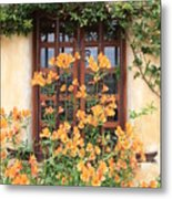 Carmel Mission Window Metal Print