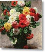 Carnations In A Vase Metal Print
