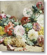 Carnations, Roses, Grapes And Peaches Metal Print
