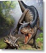Carnotaurus Attacking An Antarctopelta Metal Print