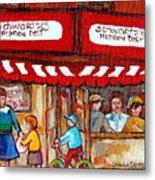 Carole Spandau Paints Montreal Memories - Montreal Landmarks - Schwartzs Hebrew Deli St. Laurent  Metal Print