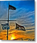 Carolina Beach Lake Flag Pole V2 Metal Print