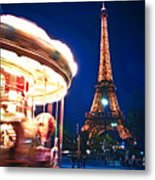 Carousel And Eiffel Tower Metal Print by Elena Elisseeva