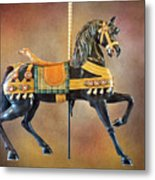 Carousel Black Stallion Body Metal Print
