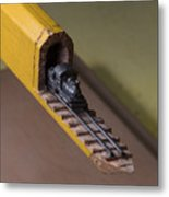 Carpenter Pencil Carved Into A Train By Cindy Chinn Metal Print