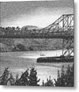 Carquinez Bridge Pointilized B And W Metal Print